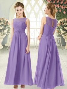 Trendy Sleeveless Ankle Length Ruching Zipper Homecoming Dress with Lavender