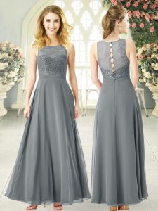 Captivating Grey Scoop Neckline Lace Prom Party Dress Sleeveless Clasp Handle