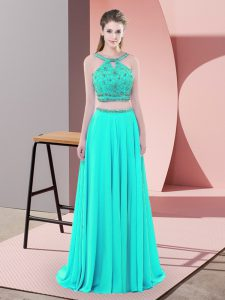 Stylish Aqua Blue Two Pieces Elastic Woven Satin Straps Sleeveless Beading Backless Homecoming Dress Sweep Train