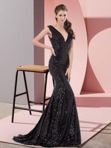 Dazzling Black Mermaid Sequined V-neck Sleeveless Beading Lace Up Formal Evening Gowns Sweep Train