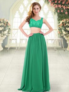 Straps Sleeveless Prom Dress Floor Length Beading and Lace Green Chiffon