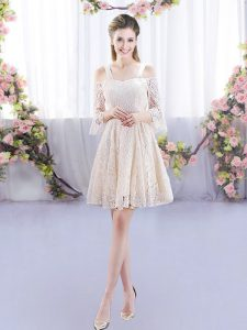 Cute Champagne Sleeveless Lace Up Dama Dress for Quinceanera for Prom and Party and Wedding Party