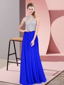 Unique Scoop Sleeveless Homecoming Dress Floor Length Beading Royal Blue Chiffon