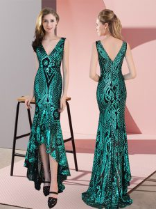 Clearance Green Zipper V-neck Ruching Dress for Prom Sequined Sleeveless