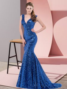 Exquisite Mermaid Sleeveless Royal Blue Prom Dress Sweep Train Lace Up