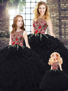 Nice Black Sleeveless Floor Length Embroidery and Ruffles Zipper Quince Ball Gowns
