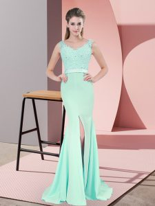 Colorful Apple Green Chiffon Zipper V-neck Sleeveless Homecoming Dress Sweep Train Beading and Lace and Appliques