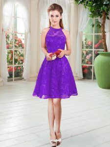 A-line Purple Scoop Sleeveless Knee Length Zipper