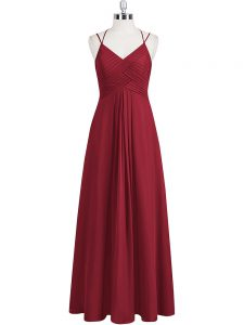Wine Red Prom Dresses Prom and Party and Military Ball with Ruching Straps Sleeveless Zipper
