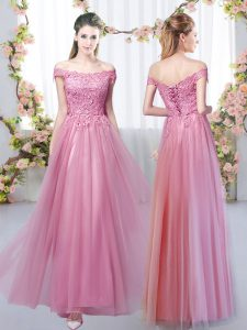 Traditional Tulle Off The Shoulder Sleeveless Lace Up Lace Dama Dress in Pink