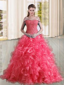 New Arrival Off The Shoulder Sleeveless Organza Quinceanera Gown Beading and Lace and Ruffles Sweep Train Lace Up