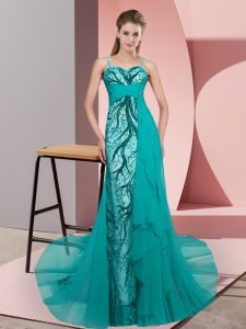 Decent Teal Zipper Prom Gown Beading and Lace Sleeveless Sweep Train