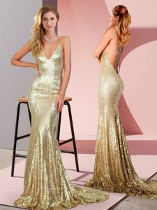 Gold Prom Evening Gown Sequined Sweep Train Sleeveless Ruching