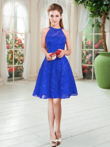 Royal Blue Prom Gown Prom and Party with Lace Scoop Sleeveless Zipper