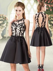 Beading and Appliques Prom Dresses Black Backless Sleeveless Mini Length