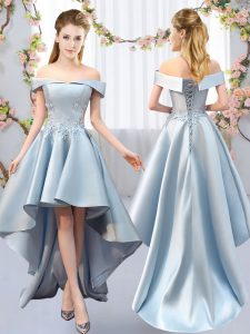 Light Blue A-line Satin Off The Shoulder Sleeveless Appliques High Low Lace Up Wedding Party Dress