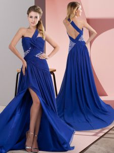 Best Selling Royal Blue Column/Sheath Beading and Ruching Prom Party Dress Backless Chiffon Sleeveless