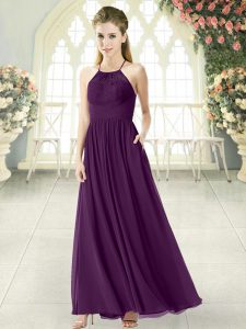 Smart Sleeveless Ankle Length Lace Backless Homecoming Dress with Purple