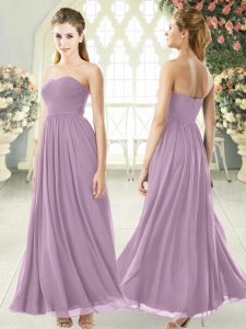 Excellent Purple Chiffon Zipper Sleeveless Ankle Length Ruching