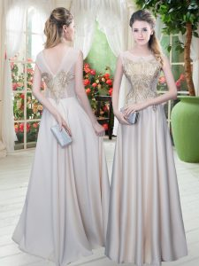 Great Floor Length Zipper Womens Evening Dresses Champagne for Prom and Party with Appliques