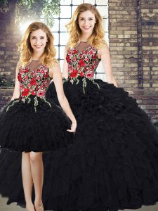 Sleeveless Zipper Floor Length Embroidery and Ruffles 15th Birthday Dress