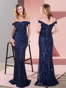 Navy Blue Sleeveless Ruching Floor Length Prom Dresses