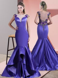 Shining Sleeveless Satin Sweep Train Side Zipper Womens Evening Dresses in Purple with Beading and Appliques