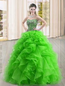 Dynamic Sleeveless Floor Length Beading and Ruffles Lace Up 15 Quinceanera Dress with Green
