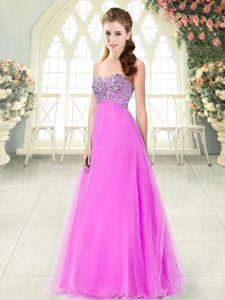 Sumptuous Pink Sleeveless Floor Length Beading Lace Up Evening Dress