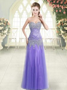 Extravagant Sleeveless Zipper Floor Length Beading Prom Dresses