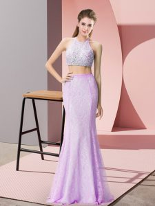 Glorious Floor Length Lilac Prom Gown Halter Top Sleeveless Backless