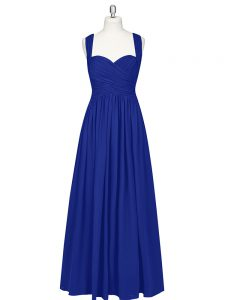 High End Royal Blue Zipper Prom Dress Ruching Sleeveless Floor Length