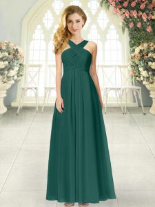 Floor Length Peacock Green Prom Party Dress Chiffon Sleeveless Ruching