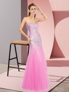 High Class Beading Evening Dress Rose Pink Zipper Sleeveless Floor Length