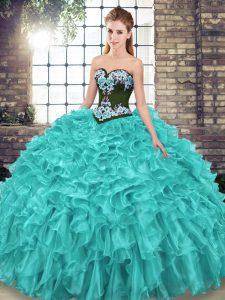 Pretty Organza Sweetheart Sleeveless Sweep Train Lace Up Embroidery and Ruffles Quinceanera Dresses in Turquoise