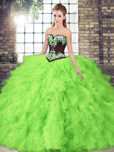 Graceful Lace Up Quince Ball Gowns Beading and Embroidery Sleeveless Floor Length