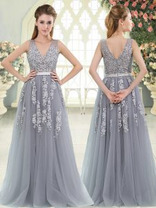 Exceptional Sleeveless Floor Length Appliques Zipper Evening Wear with Grey