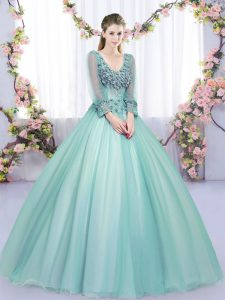 Tulle V-neck Long Sleeves Lace Up Lace and Appliques Quinceanera Gowns in Apple Green
