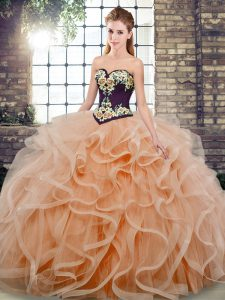 High End Sleeveless Sweep Train Embroidery and Ruffles Lace Up Sweet 16 Dresses