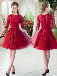 High Quality Knee Length Wine Red Tulle Half Sleeves Lace