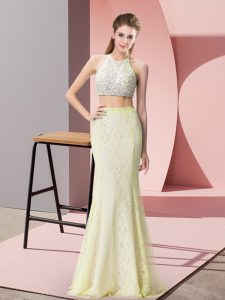 Affordable Light Yellow Two Pieces Halter Top Sleeveless Lace Floor Length Backless Beading Dress for Prom