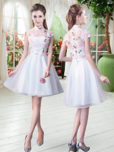 Customized High-neck Short Sleeves Prom Dresses Knee Length Appliques White Tulle