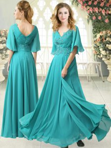 Aqua Blue Half Sleeves Sweep Train Beading and Lace Floor Length Evening Wear
