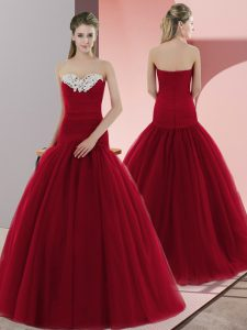 Red Ball Gowns Beading Evening Dress Zipper Tulle Sleeveless Floor Length
