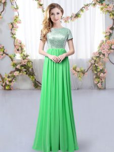Extravagant Chiffon Short Sleeves Floor Length Damas Dress and Sequins