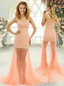 Amazing Sleeveless Beading Zipper Prom Party Dress with Orange and Peach Brush Train