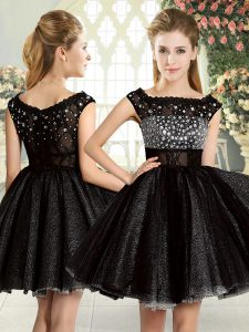 Black Sleeveless Beading Mini Length Evening Dress