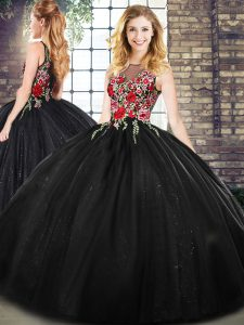 Floor Length Ball Gowns Sleeveless Black Vestidos de Quinceanera Zipper