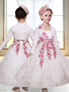 Fashionable Sleeveless Ankle Length Embroidery Zipper Toddler Flower Girl Dress with White