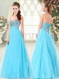 Aqua Blue Lace Up Sweetheart Beading Evening Dress Tulle Sleeveless
